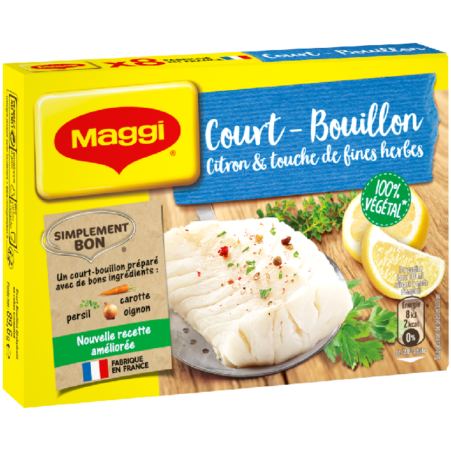 Court bouillon citron fines herbes, Maggi (8 tablettes, 90 g)
