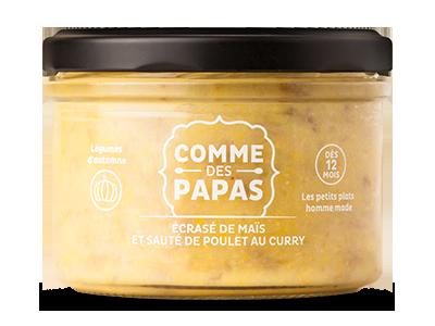 Ecrasé de maïs et sauté de poulet au curry BIO - 12 mois, Comme des papas (200 g)