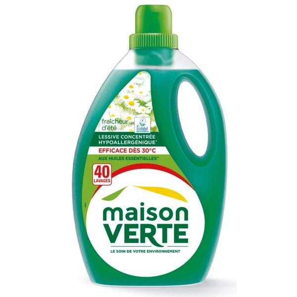 Lessive liquide fraicheur d'éte écologique, Maison Verte (1.8 L)