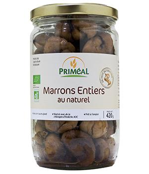 Marrons entiers BIO au naturel, Priméal (420 g)