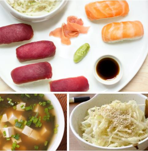 Menu sushi duo saumon/thon, salade de chou à la japonaise et soupe miso