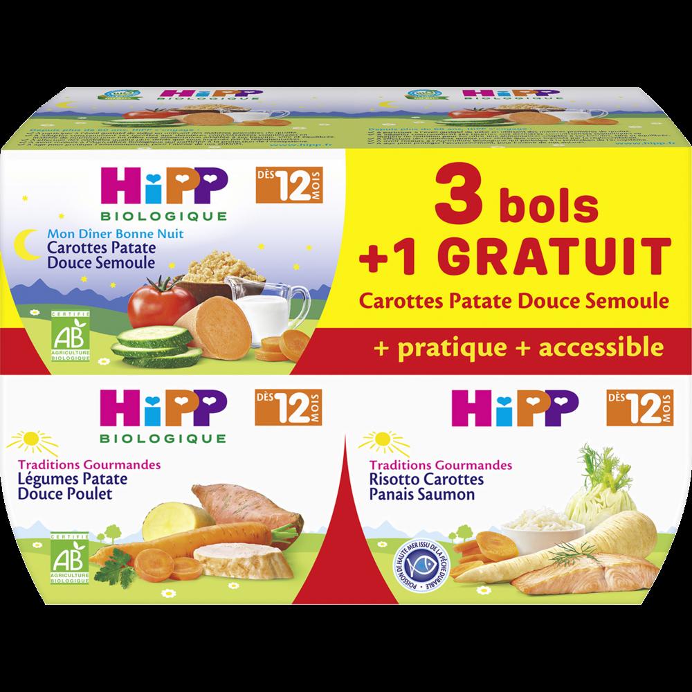 Bols menus BIO carottes, patate douce, semoule / risotto, carottes, panais, saumon / légumes, patate douce poulet - dès 12 mois, Hipp (4 x 220 g)