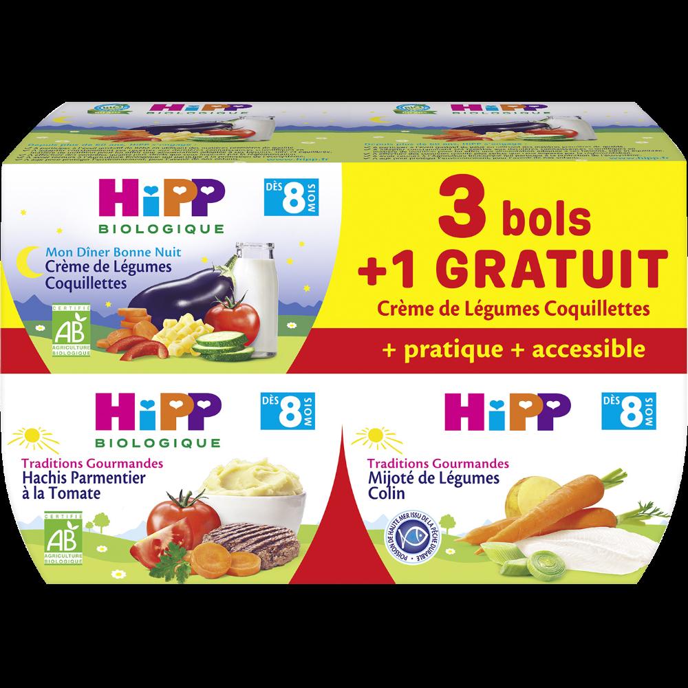 Bols menus BIO crème de légumes, coquillettes / mijoté de légumes, colin / hachis parmentier à la tomate - dès 8 mois, Hipp (4 x 190 g)