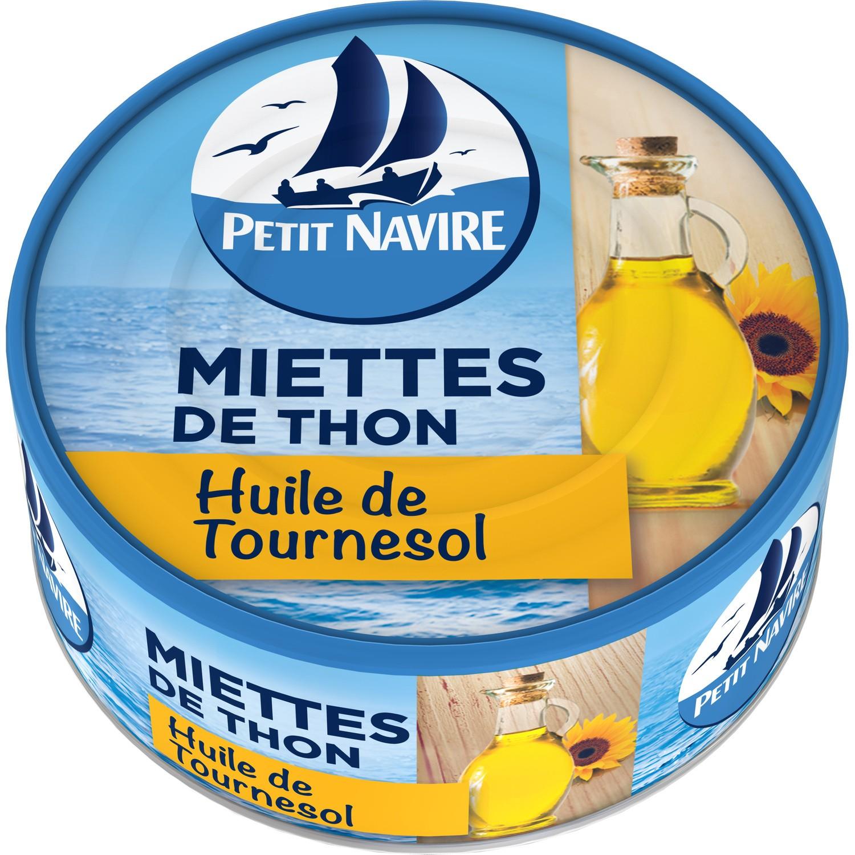 Miettes de thon à l'huile de tournesol, Petit Navire (140 g)