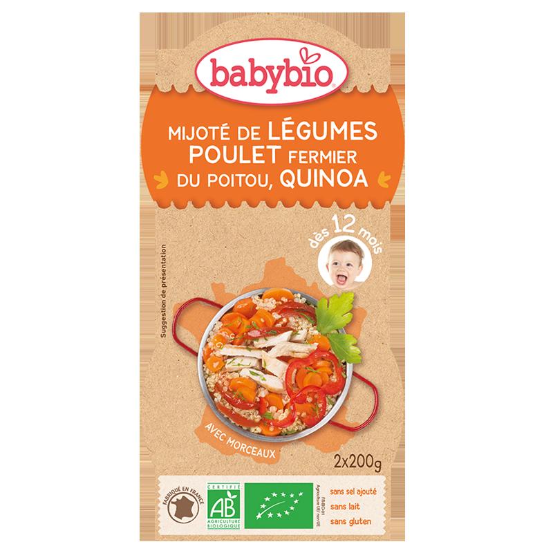 Bols mijoté de légumes, poulet fermier du Poitou, quinoa BIO - dès 12 mois, Babybio (2 x 200 g)