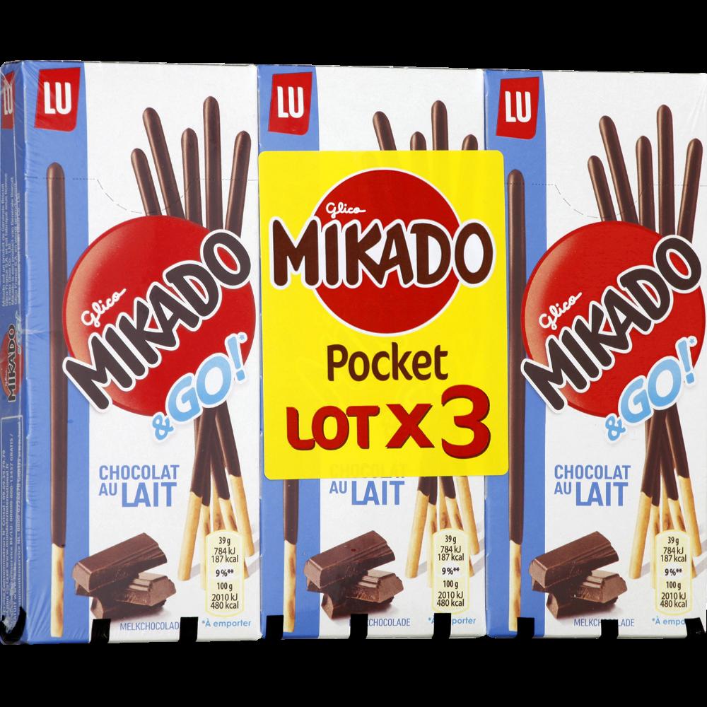 Mikado pocket au chocolat au lait (3 x 39 g)