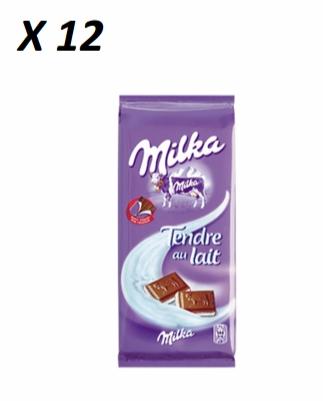 Chocolat tendre au lait, Milka (2 x 100 g, x 12)