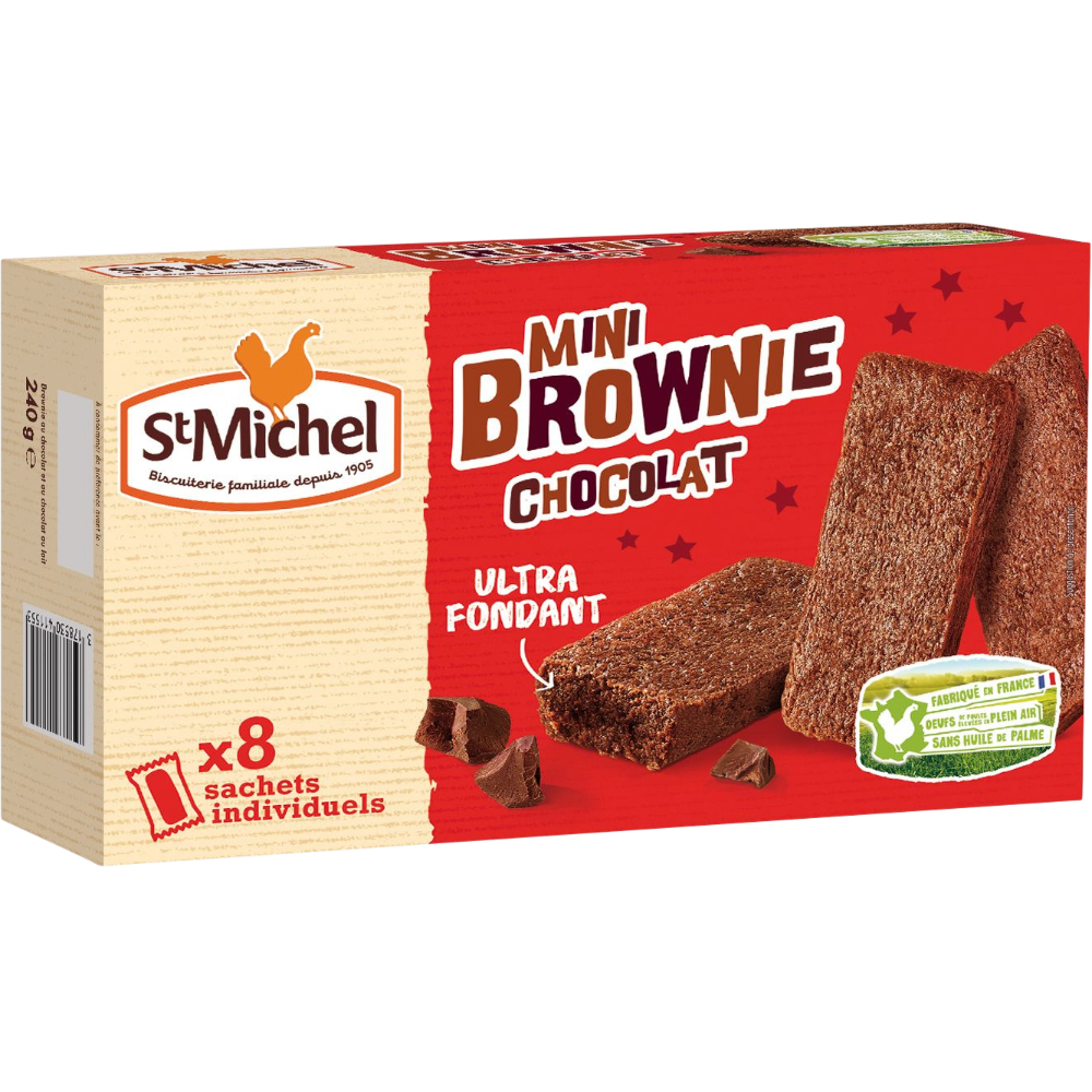 Mini brownie chocolat, St Michel (x 8, 240g)