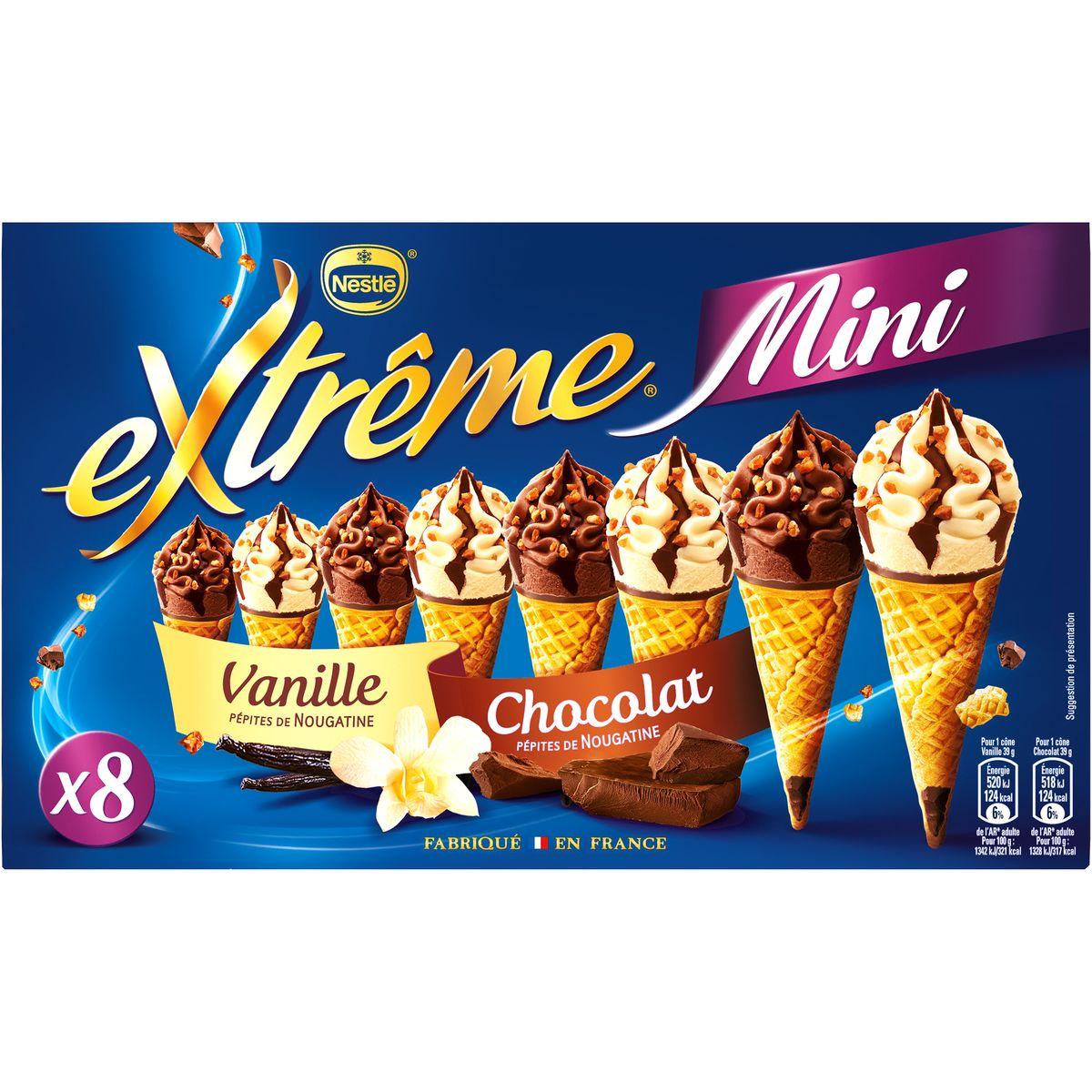 Mini Cône Vanille Chocolat, Extreme (x 8)