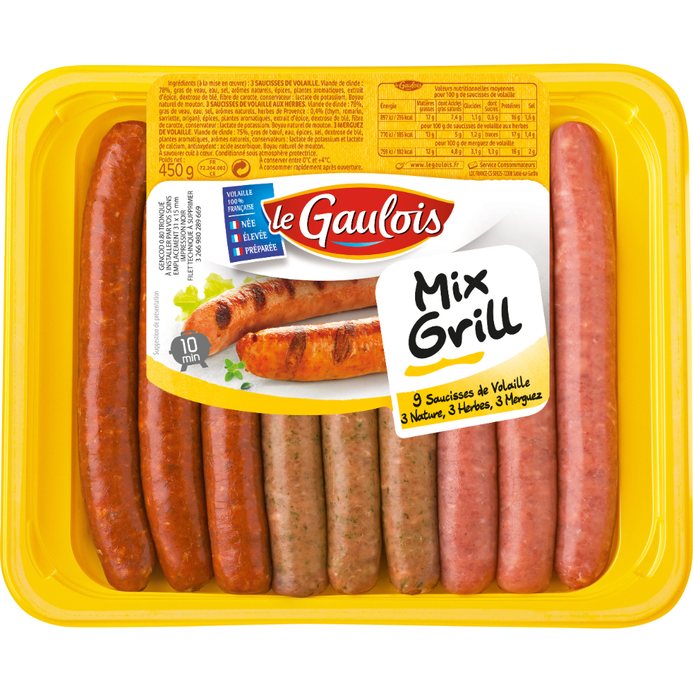 Mix grill de saucisses de volaille, Le Gaulois (x 9)