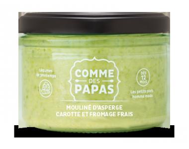 Mouliné d'asperges, carottes et fromage frais - 8 mois, Comme des Papas (180 g)