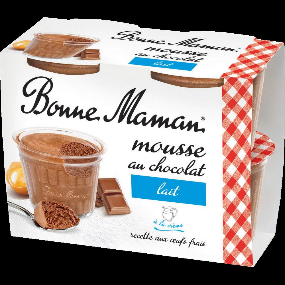 Mousse au chocolat au lait, Bonne Maman (4 x 150 g)
