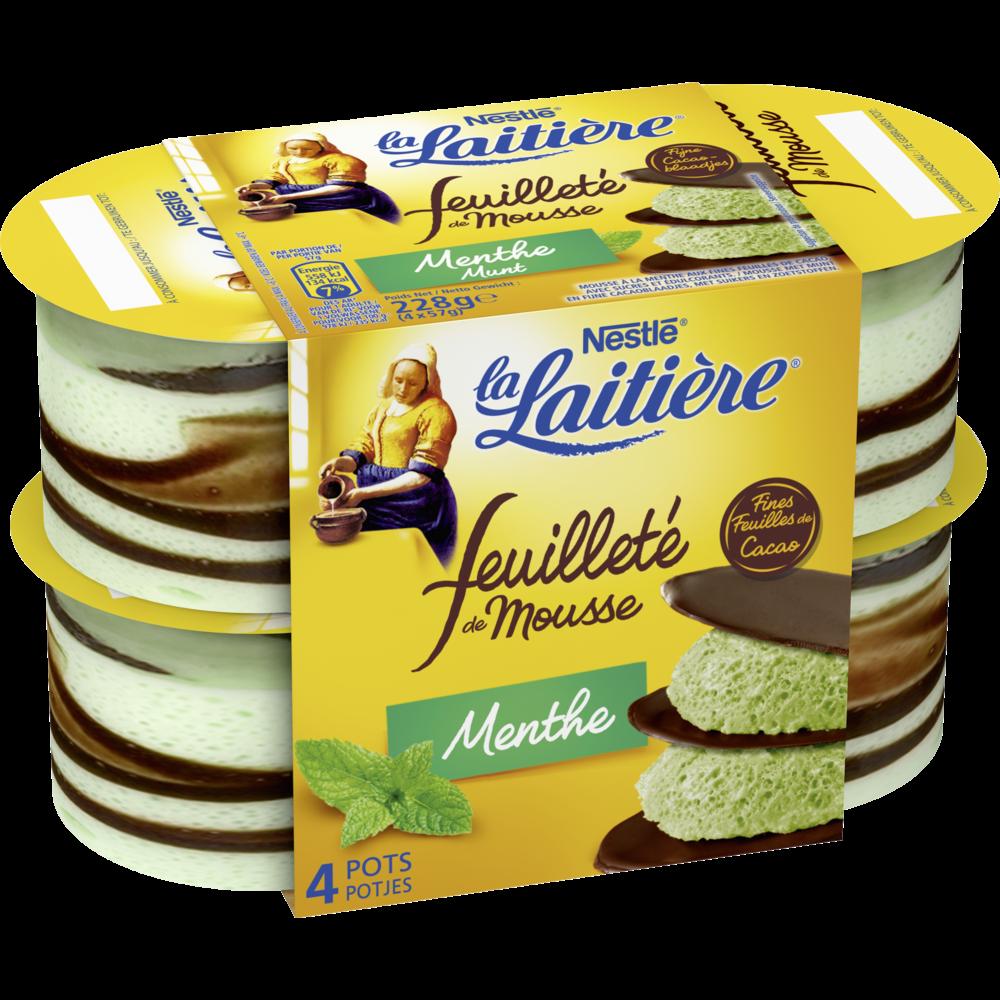 Mousse lactée menthe et chocolat feuilleté, La Laitière (4 x 57 g)