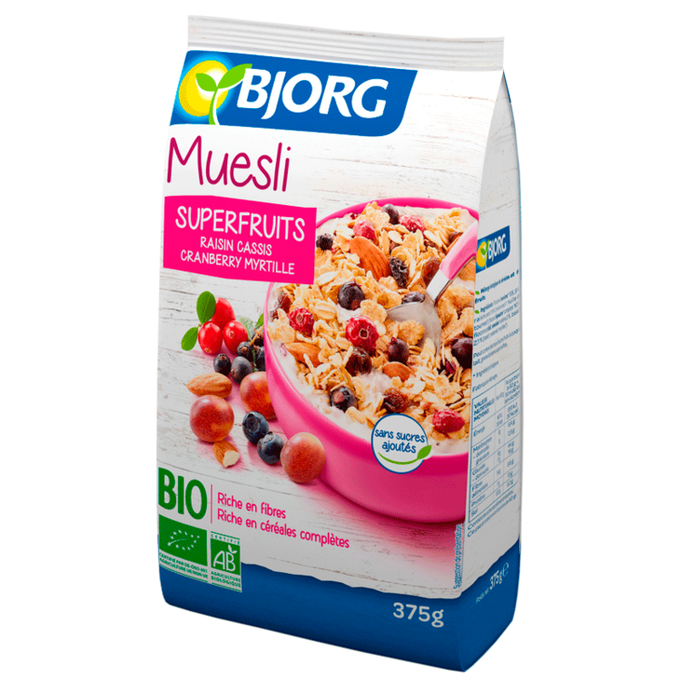 Muesli Superfruits cassis/myrtilles/cranberries/raisins BIO, Bjorg (375 g)