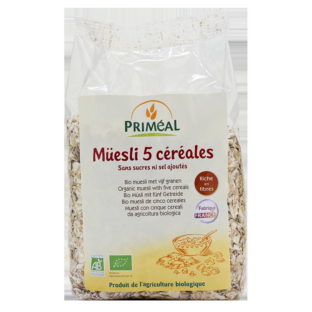Muesli 5 céréales BIO, Priméal (500 g)