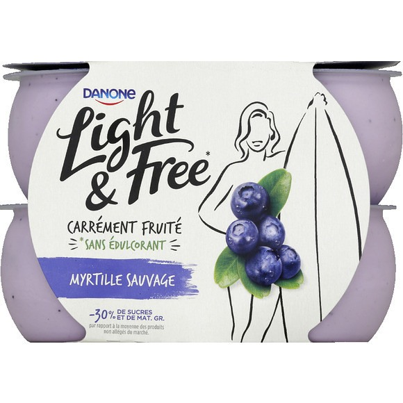 Yaourt myrtille sauvage - Light & Free, Danone (4 x 120 g)