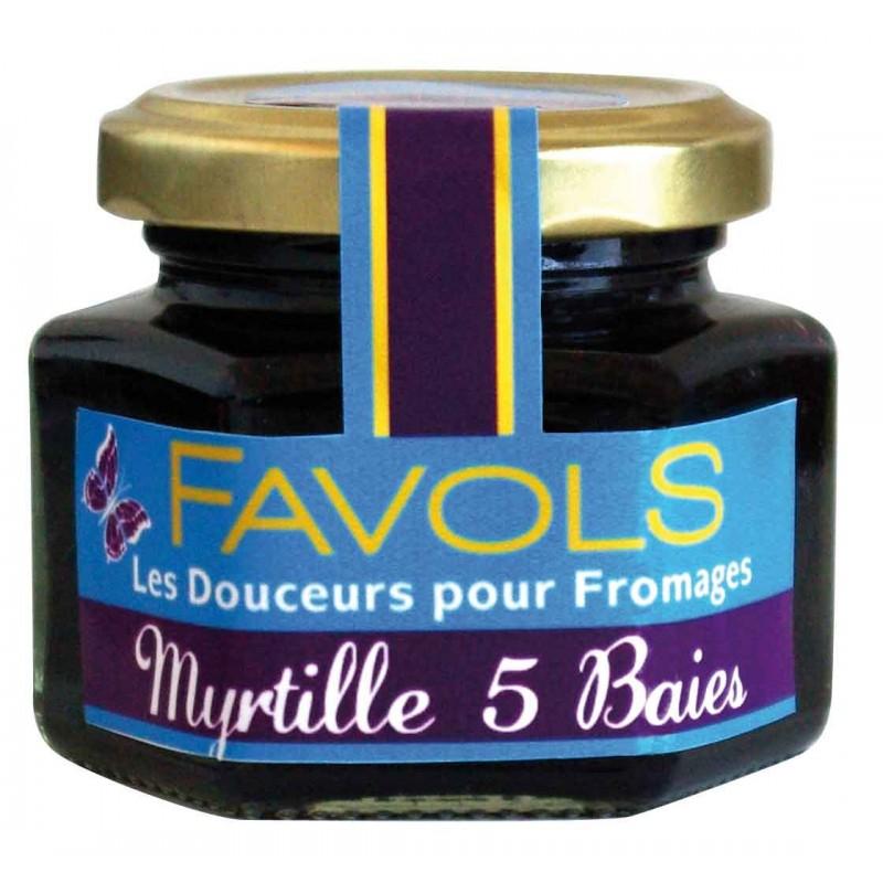 Confiture de myrtilles et aux 5 baies, Favols (110 g)