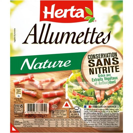 Lardons allumettes natures sans nitrite, Herta (2 x 75 g)
