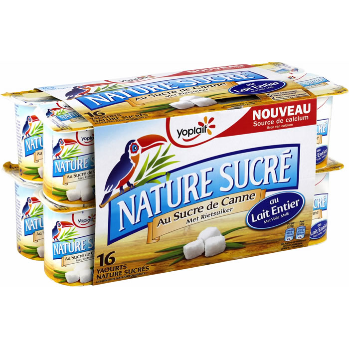 Yaourt nature au sucre de canne, Yoplait (16 x 125 g)