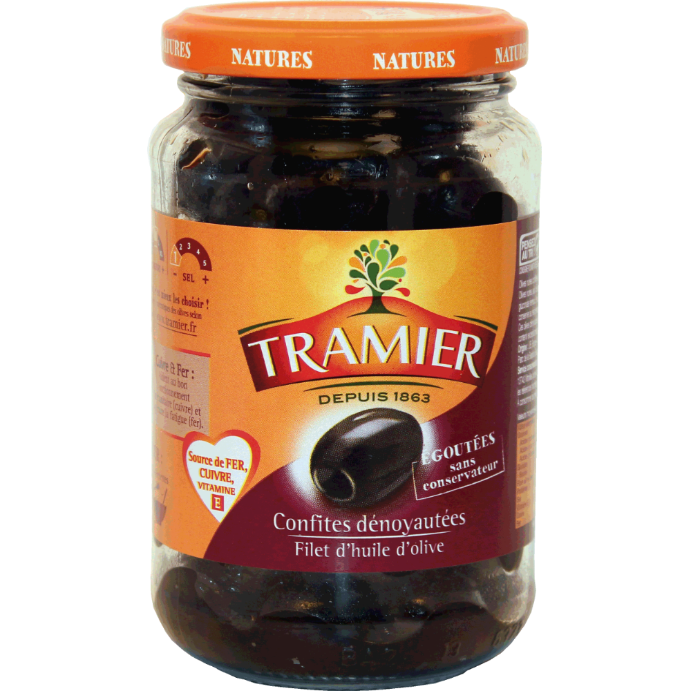 Olives noires confites denoyautées sans saumure, Tramier (150 g)