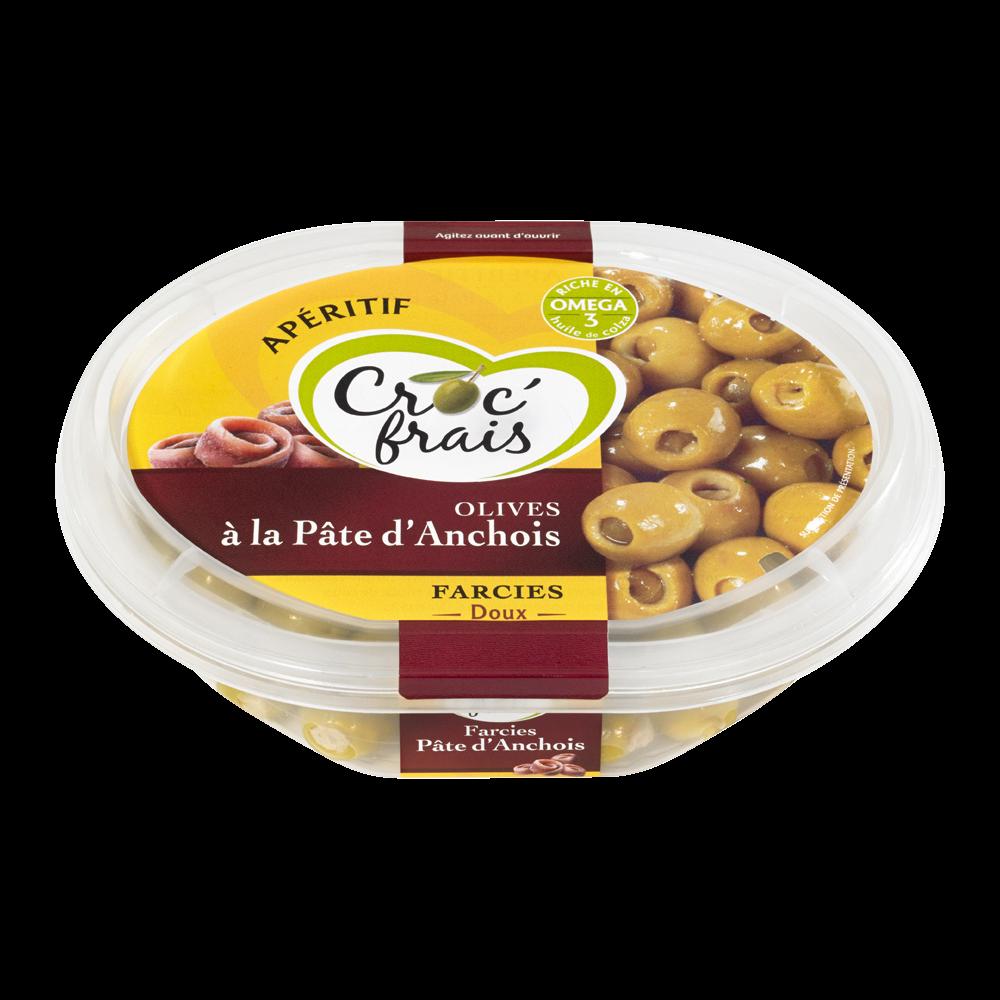 Olives vertes farcies aux anchois, Croc'frais (200 g)
