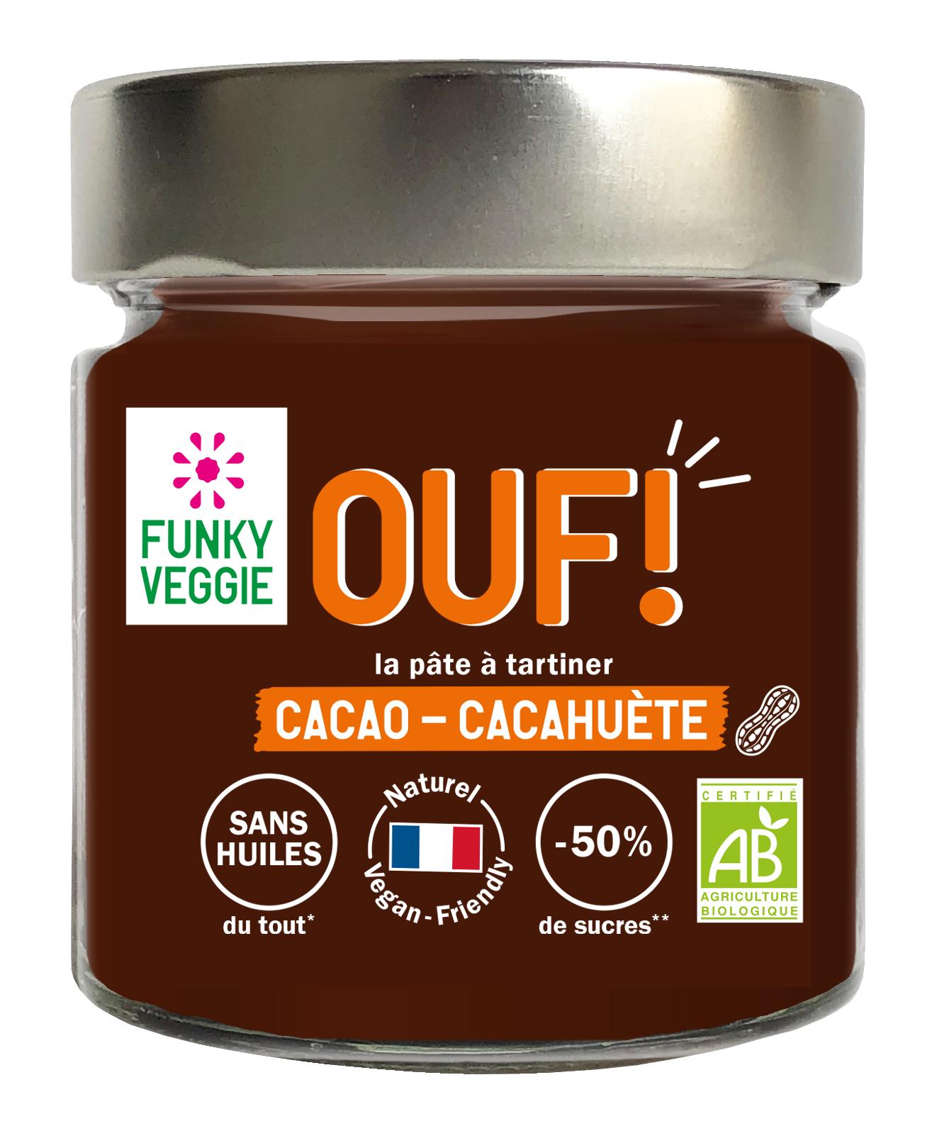 OUF! La pâte à tartiner Cacao Cacahuète BIO, Funky Veggie (200 g)