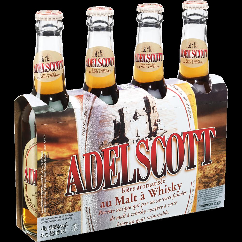 Pack d'Adelscott bière ambrée au malt de whisky, 5,8° (4 x 33 cl)