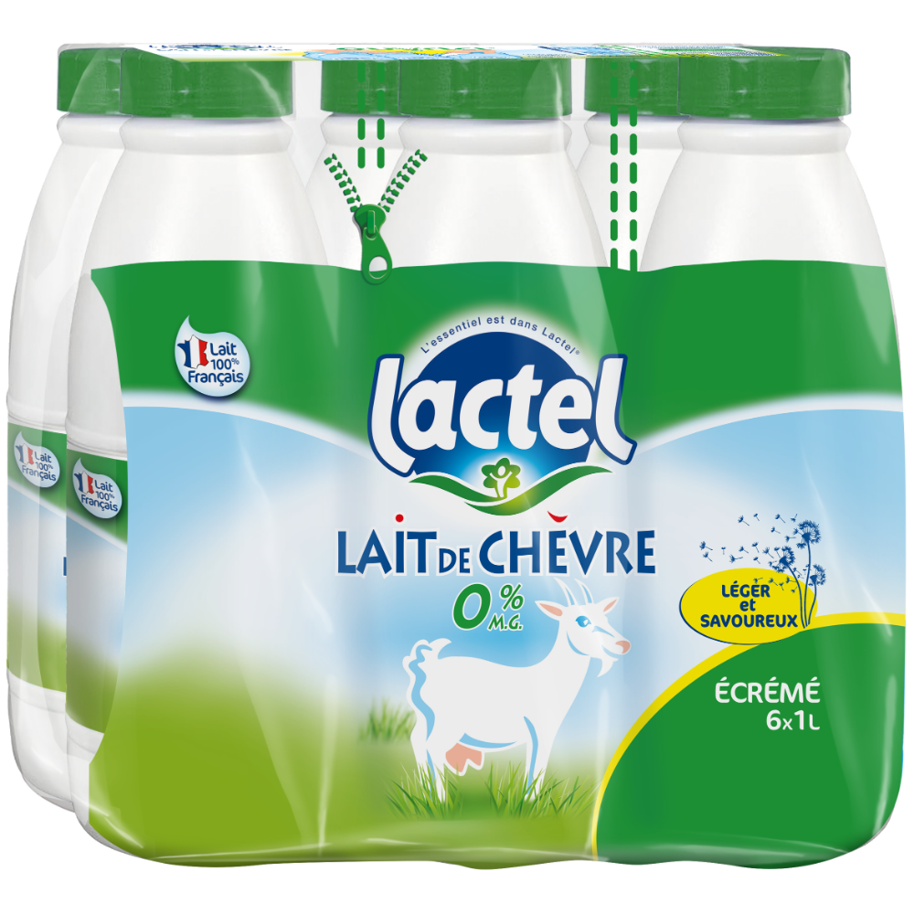 Pack de Lait de chèvre écrémé stérilisé UHT, Lactel (6 x 1 L)