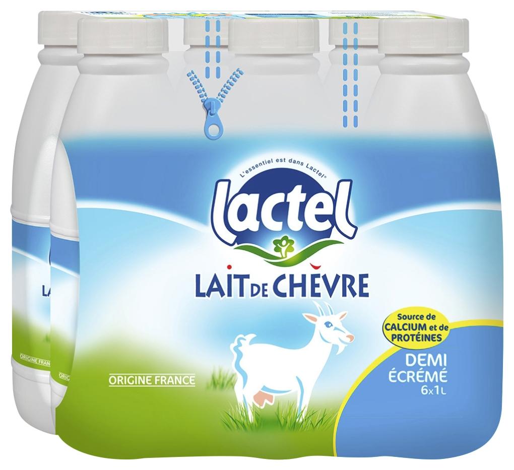Pack de Lait de chèvre UHT demi-écrémé, Lactel (6 x 1 L)
