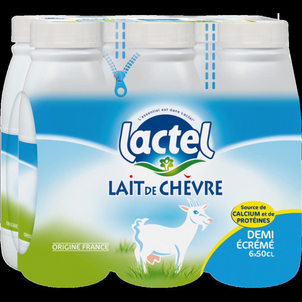 Pack de Lait de chèvre UHT demi-écrémé stérilisé, Lactel (6 x 50 cl)