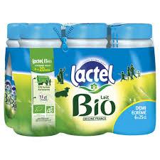 Pack de Lait demi-écrémé BIO, Lactel (6 x 25 cl)