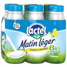 Pack Lait Matin Léger BIO 1,2% MG, Lactel (6 x 50 cl)