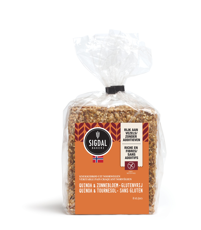 Pain craquant Norvégien sans gluten - Quinoa et Tournesol,  Sigdal Bakeri (190 g)