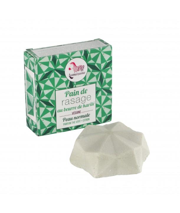 Pain de rasage solide thé vert citron, Lamazuna (55 g)