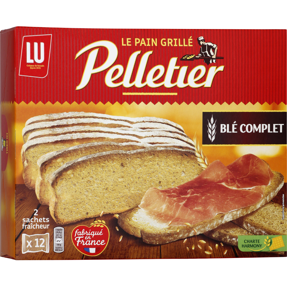 Pain grillé au blé complet, Pelletier (24 tranches, 500 g)