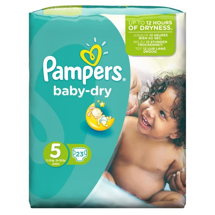 Couches Baby Dry Taille 5 / 11-25 kg, Pampers (x 23)
