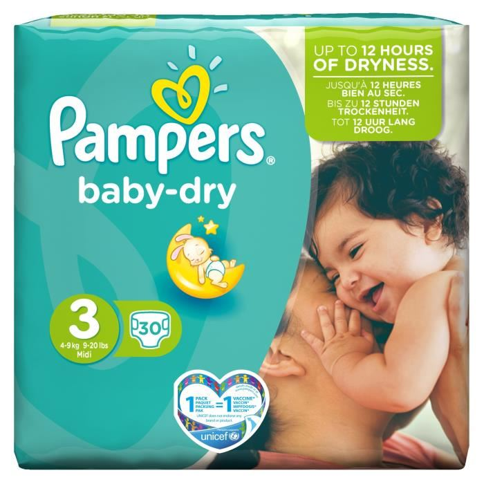 Couches Baby Dry Taille 3 / 4-9 kg, Pampers (x 30)