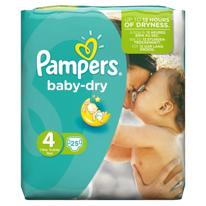Couches Baby Dry T4 / 7-18 kg, Pampers (x 25)