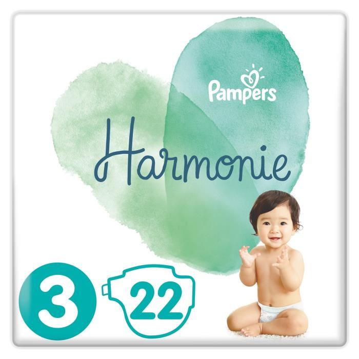Couches Harmonie T3 / 6-10 kg, Pampers (x 22)