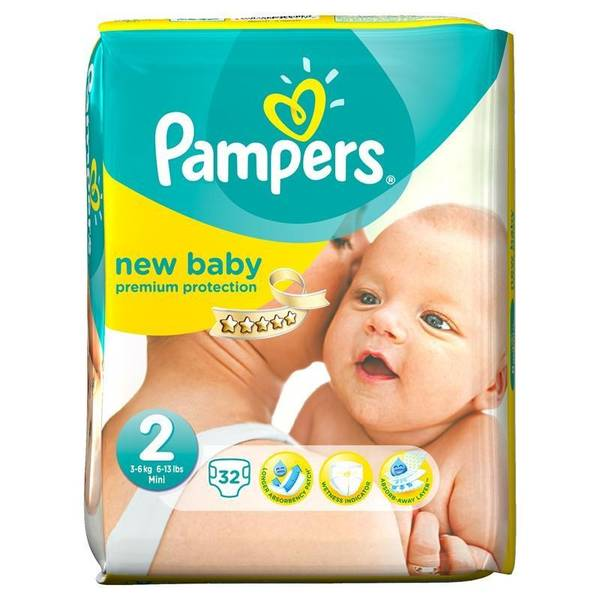 Couches New Baby Taille 2 / 3-6 kg, Pampers (x 32)