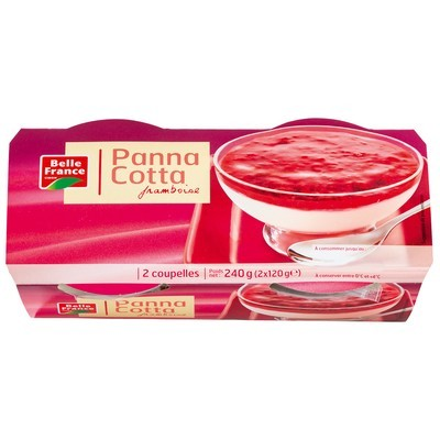 Panna Cotta Coulis Framboise, Belle France (2 x 120 g)