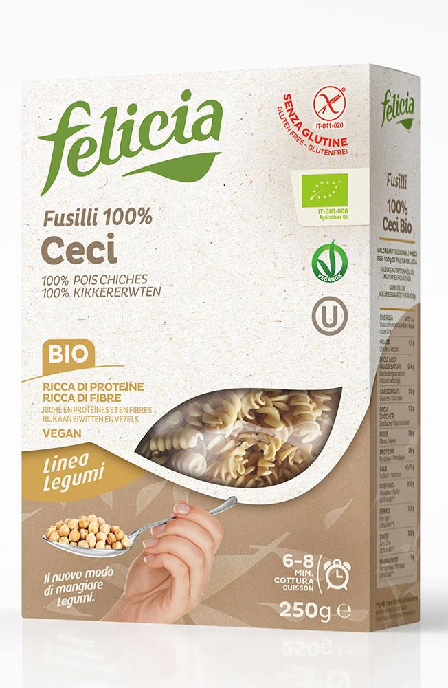 Fusilli aux pois chiches BIO et sans gluten, Felicia (250 g)