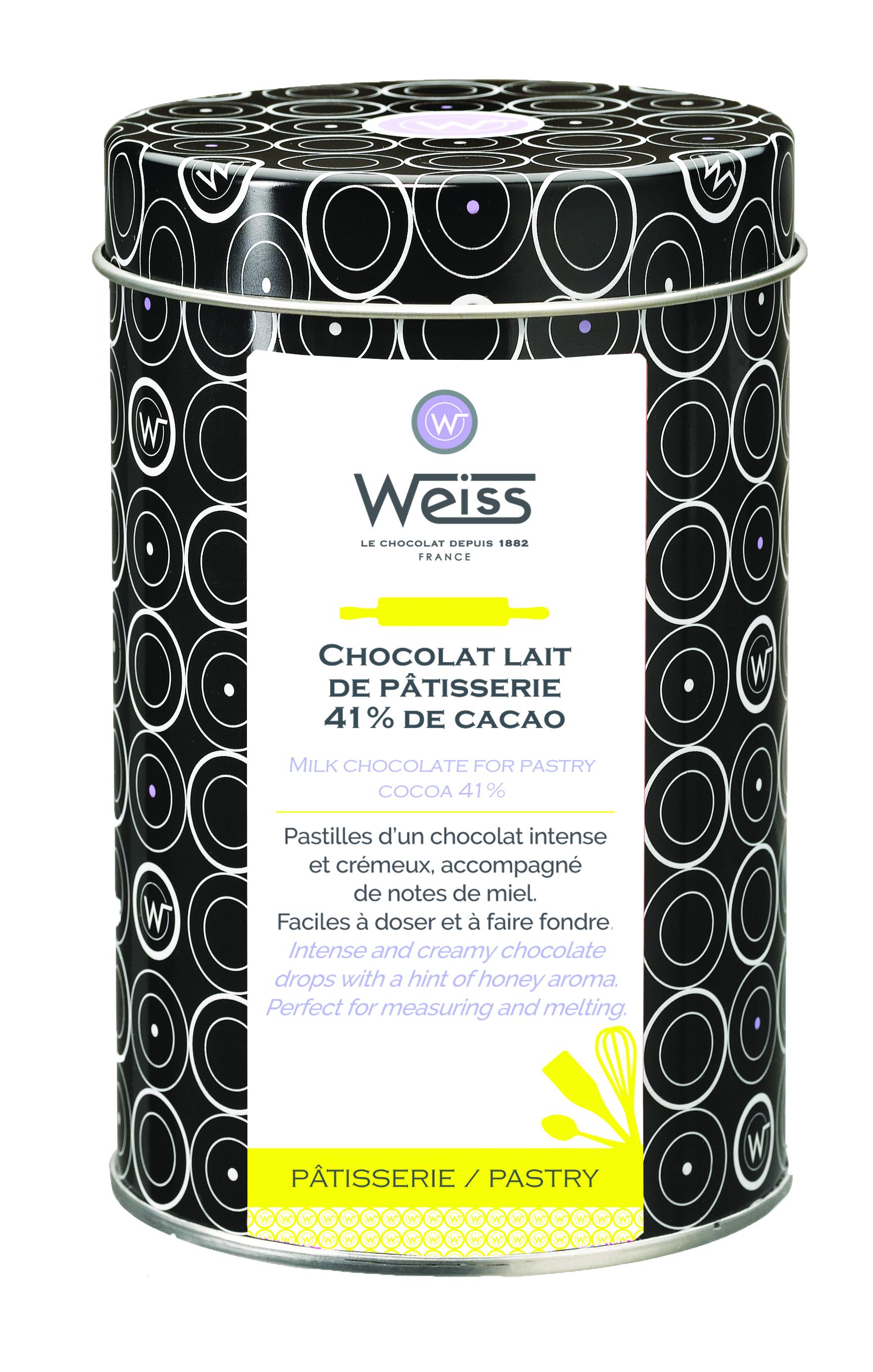 Pastilles de chocolat au lait de pâtisserie 41%de  cacao, Weiss (400 g)