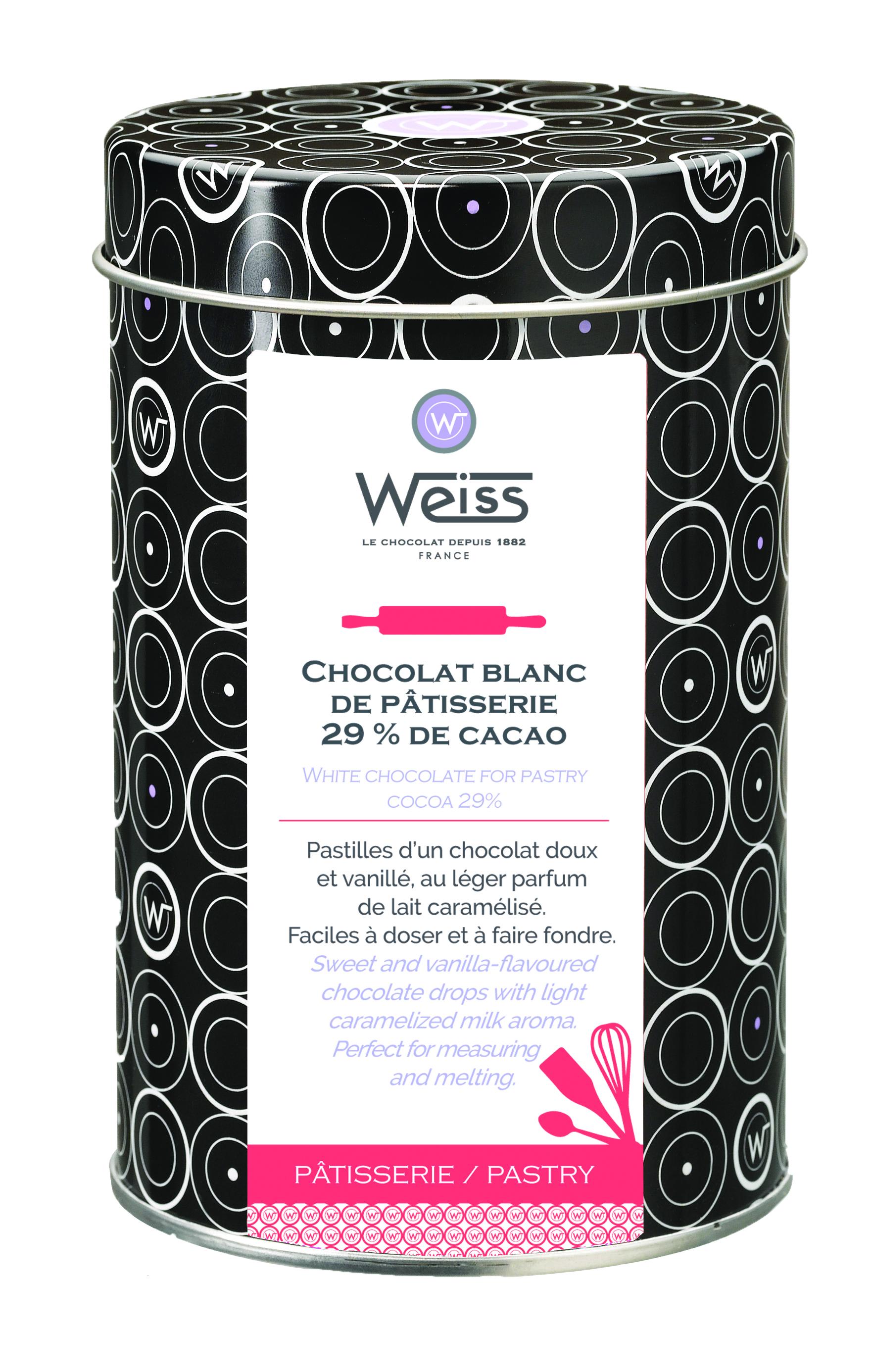 Pastilles de chocolat blanc de pâtisserie 29% de cacao, Weiss (400 g)