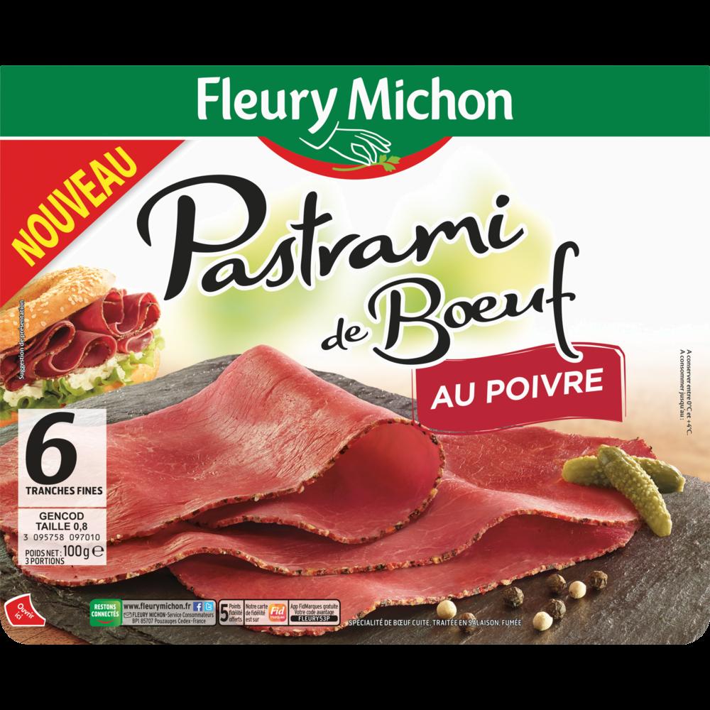Pastrami de boeuf au poivre, Fleury Michon (6 tranches, 100 g)