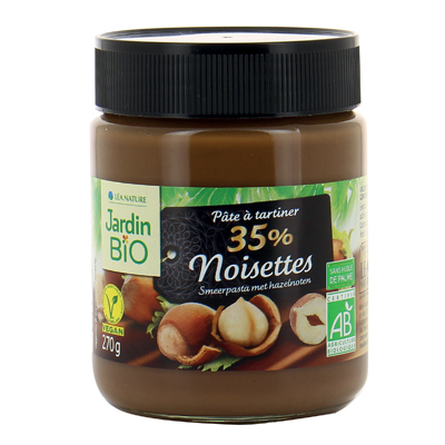 Pâte à tartiner 35% de noisettes BIO, Jardin Bio (270 g)
