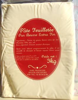 Pâte feuilletée artisanale «François» pré-étalée au beurre Pamplie (3 kg)
