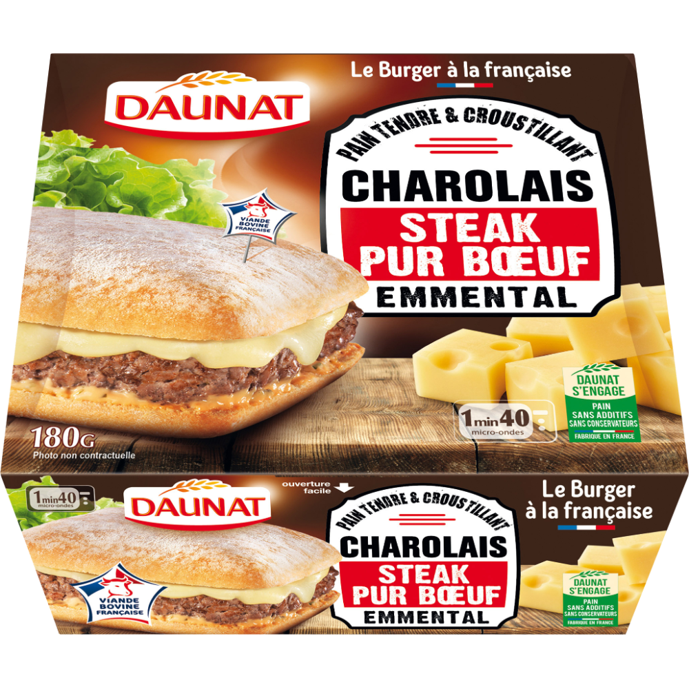 Pavé charolais boeuf emmental, Daunat (180 g)
