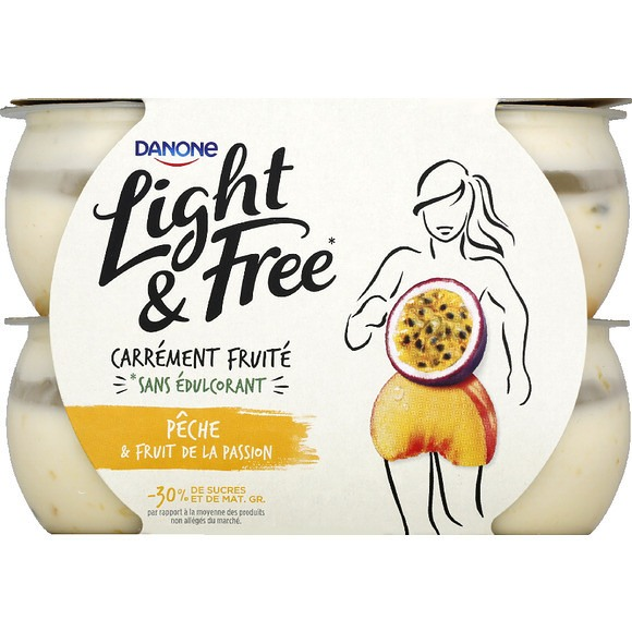Yaourt pêche passion - Light & Free, Danone (4 x 120 g)