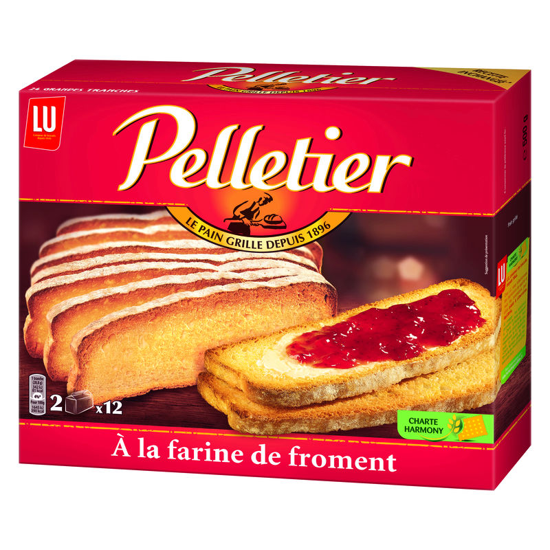 Pain grillé au froment, Pelletier (24 tranches, 500 g)